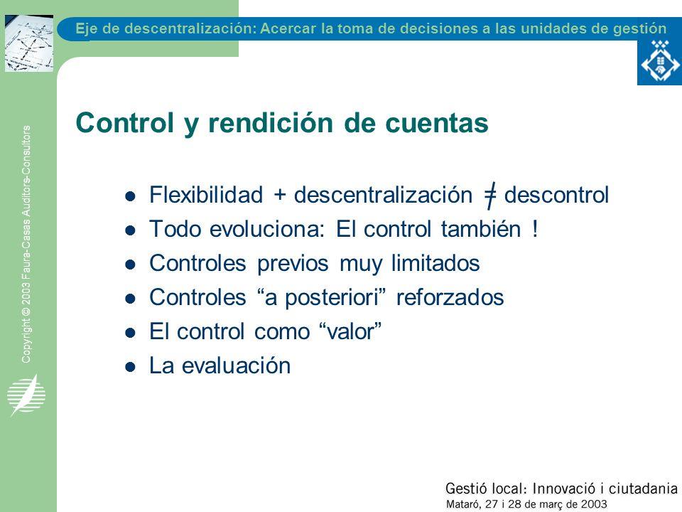 Eje de descentralización: Acercar la toma de decisiones a las unidades de gestión Copyright © 2003 Faura-Casas Auditors-Consultors Control y rendición