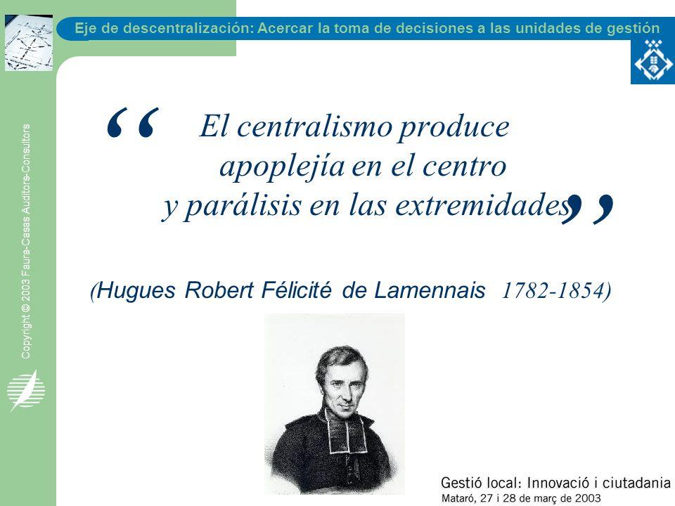Eje de descentralización: Acercar la toma de decisiones a las unidades de gestión Copyright © 2003 Faura-Casas Auditors-Consultors El centralismo prod