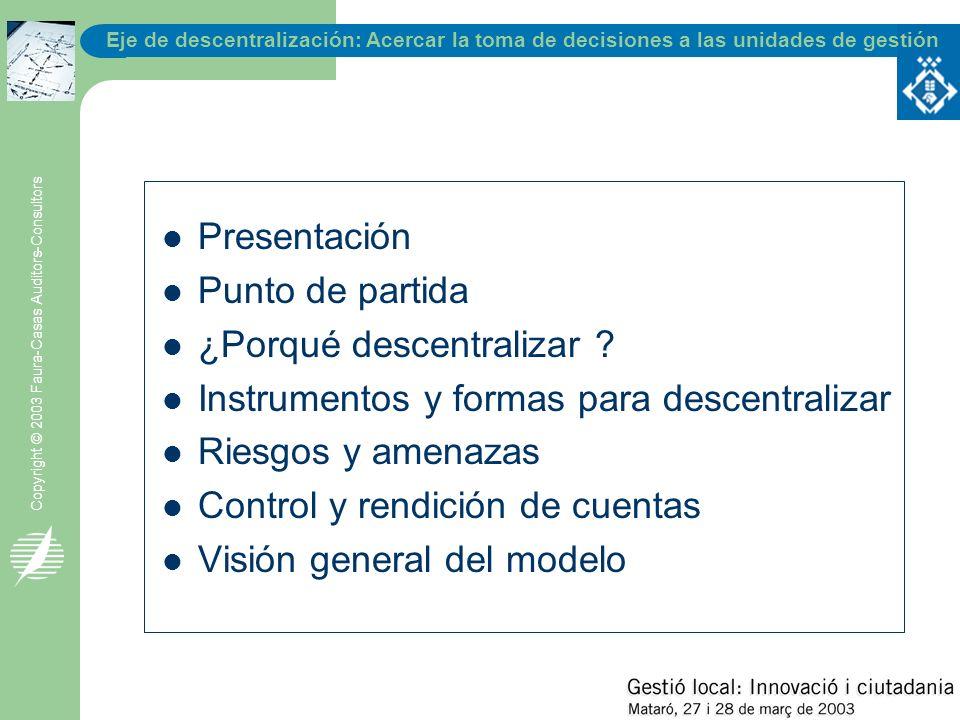 Eje de descentralización: Acercar la toma de decisiones a las unidades de gestión Copyright © 2003 Faura-Casas Auditors-Consultors - Eficacia - Equidad - Eficiencia - Ética - E·Government - Entorno - Estrategia -...
