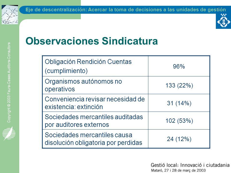 Eje de descentralización: Acercar la toma de decisiones a las unidades de gestión Copyright © 2003 Faura-Casas Auditors-Consultors Observaciones Sindi