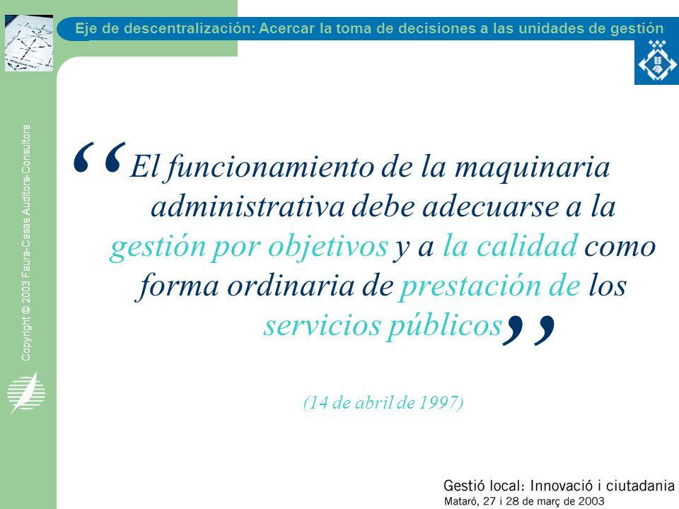 Eje de descentralización: Acercar la toma de decisiones a las unidades de gestión Copyright © 2003 Faura-Casas Auditors-Consultors El funcionamiento d