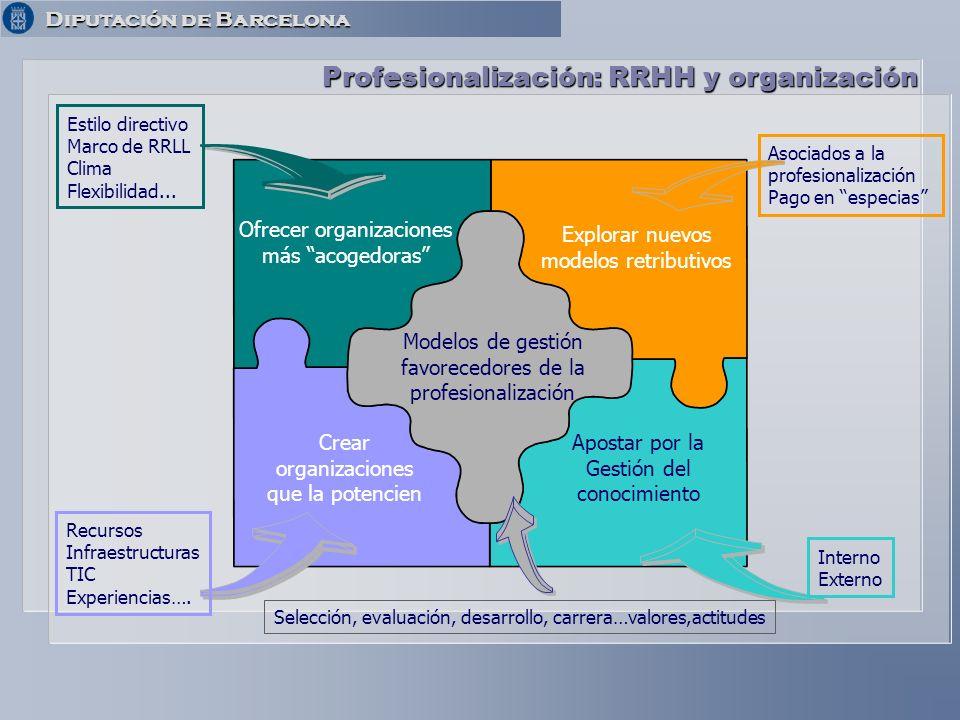 Diputación de Barcelona Diputación de Barcelona Profesionalización: RRHH y organización Ofrecer organizaciones más acogedoras Explorar nuevos modelos