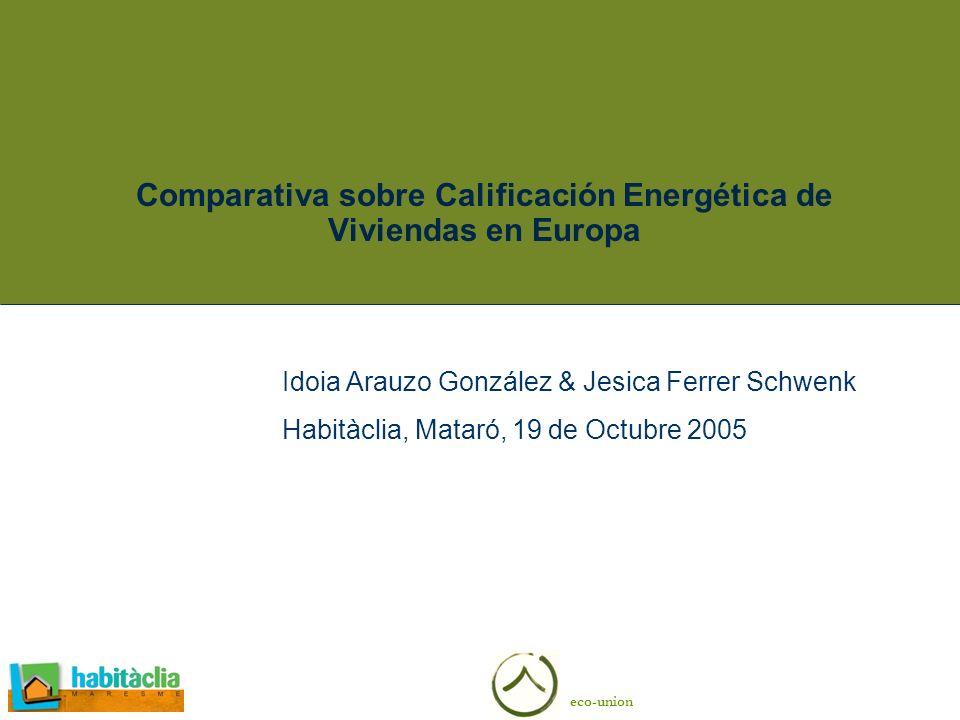 eco-union Comparativa sobre Calificación Energética de Viviendas en Europa Idoia Arauzo González & Jesica Ferrer Schwenk Habitàclia, Mataró, 19 de Oct