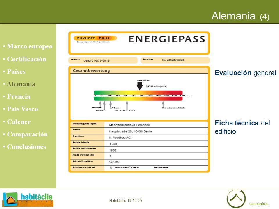 eco-union Habitàclia 19.10.05 Alemania (4) Marco europeo Certificación Países Alemania Francia País Vasco Calener Comparación Conclusiones Evaluación