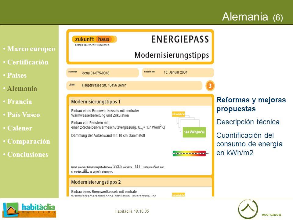 eco-union Habitàclia 19.10.05 Alemania (6) Reformas y mejoras propuestas Descripción técnica Cuantificación del consumo de energía en kWh/m2 Marco eur