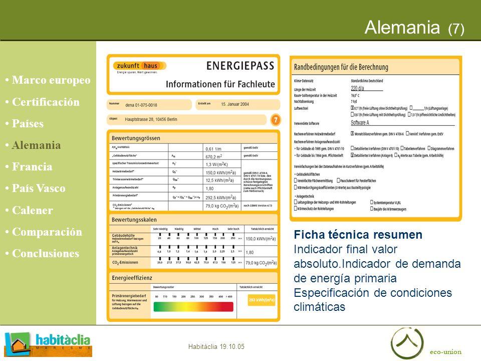eco-union Habitàclia 19.10.05 Alemania (7) Ficha técnica resumen Indicador final valor absoluto.Indicador de demanda de energía primaria Especificació