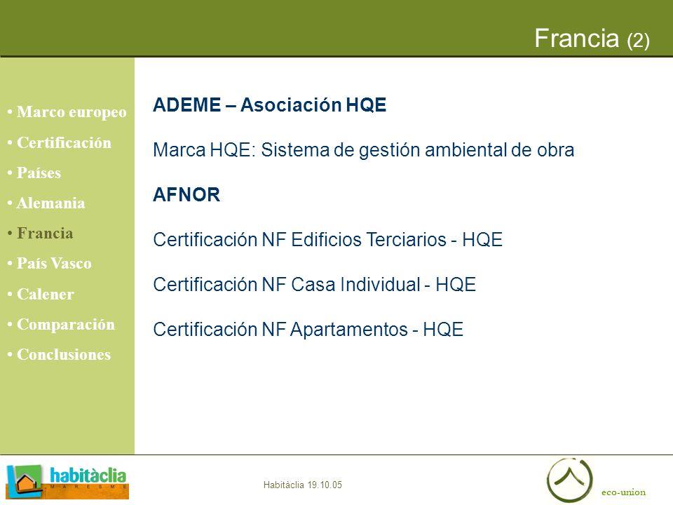 eco-union Habitàclia 19.10.05 Francia (2) ADEME – Asociación HQE Marca HQE: Sistema de gestión ambiental de obra AFNOR Certificación NF Edificios Terc