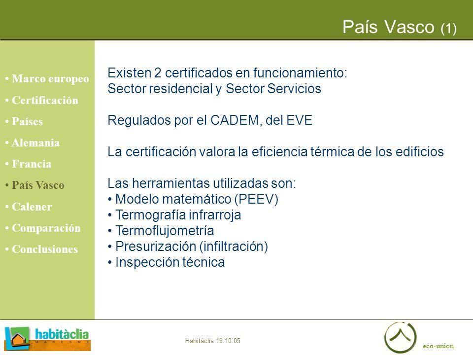 eco-union Habitàclia 19.10.05 País Vasco (1) Marco europeo Certificación Países Alemania Francia País Vasco Calener Comparación Conclusiones Existen 2