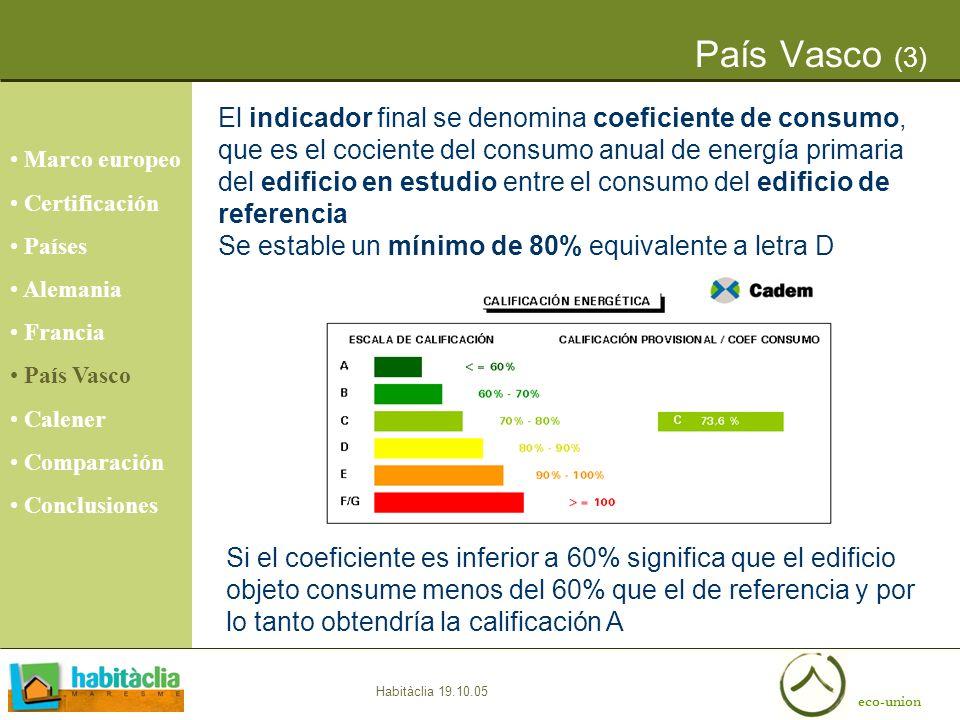 eco-union Habitàclia 19.10.05 País Vasco (3) Marco europeo Certificación Países Alemania Francia País Vasco Calener Comparación Conclusiones El indica