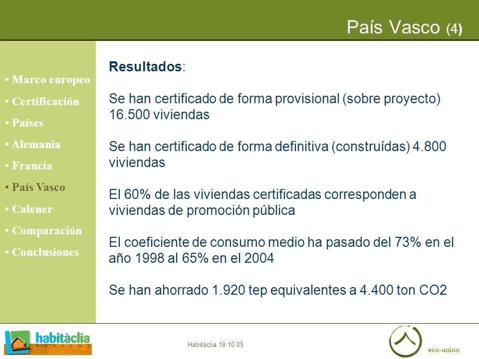 eco-union Habitàclia 19.10.05 País Vasco (4) Resultados: Se han certificado de forma provisional (sobre proyecto) 16.500 viviendas Se han certificado