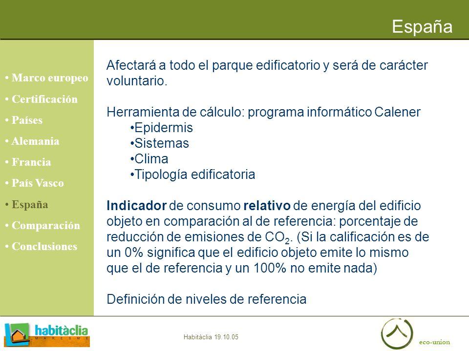 eco-union Habitàclia 19.10.05 España Marco europeo Certificación Países Alemania Francia País Vasco España Comparación Conclusiones Afectará a todo el