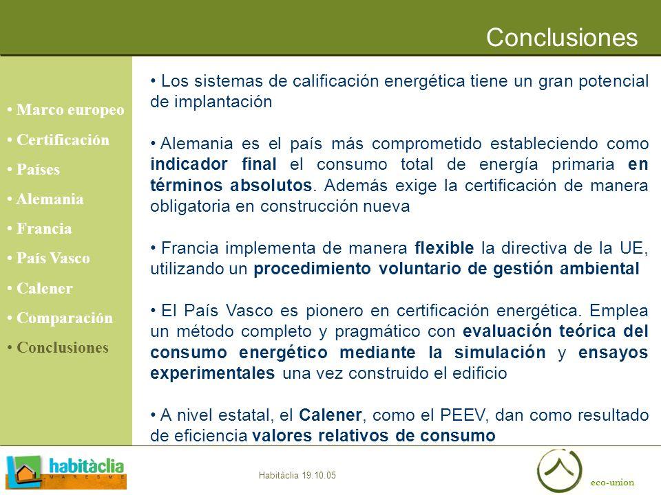 eco-union Habitàclia 19.10.05 Conclusiones Marco europeo Certificación Países Alemania Francia País Vasco Calener Comparación Conclusiones Los sistema