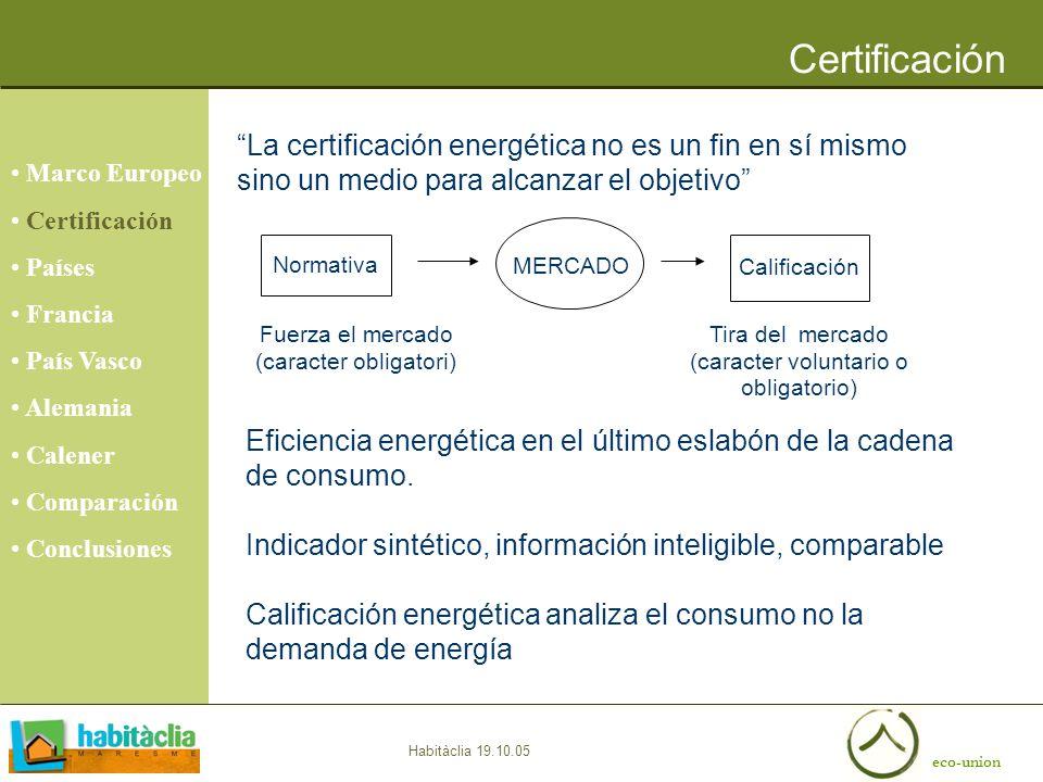 eco-union Habitàclia 19.10.05 Certificación Marco Europeo Certificación Países Francia País Vasco Alemania Calener Comparación Conclusiones La certifi