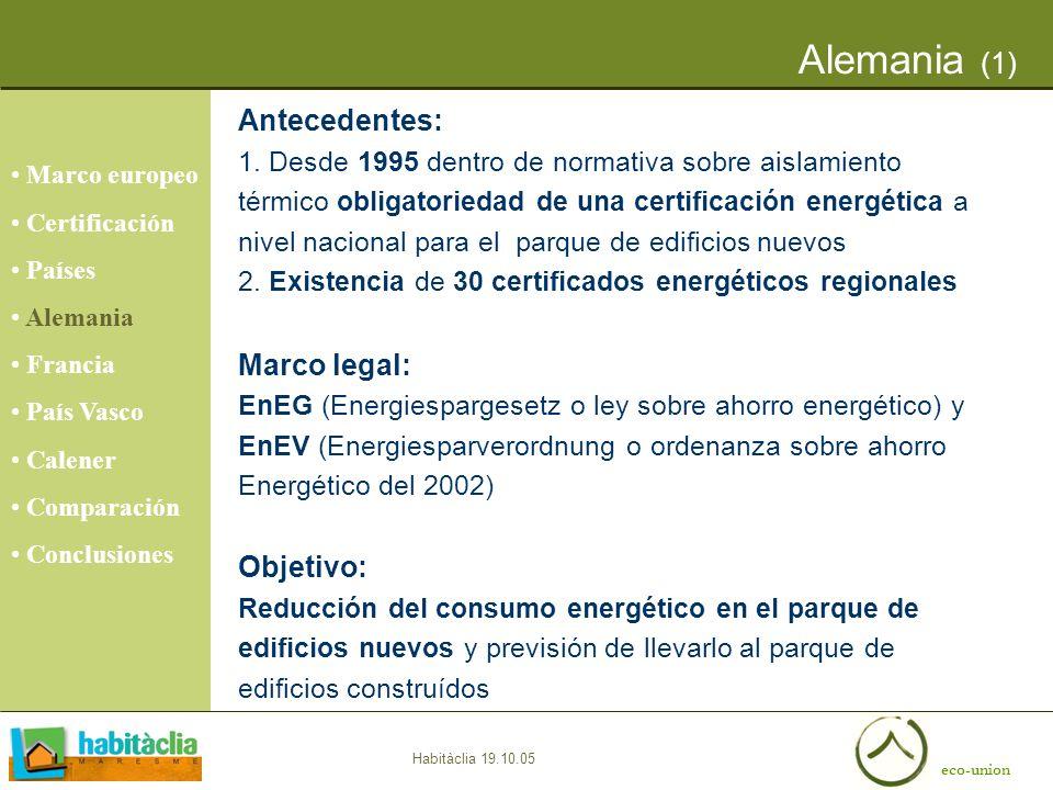 eco-union Habitàclia 19.10.05 Alemania (1) Marco europeo Certificación Países Alemania Francia País Vasco Calener Comparación Conclusiones Antecedente
