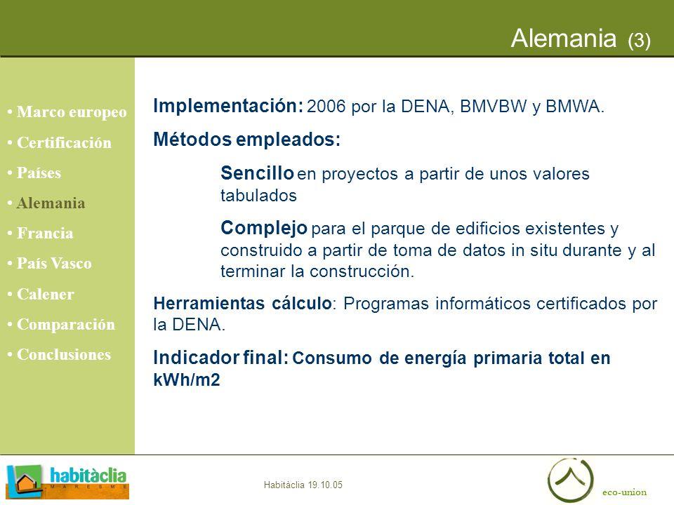 eco-union Habitàclia 19.10.05 Alemania (3) Marco europeo Certificación Países Alemania Francia País Vasco Calener Comparación Conclusiones Implementac