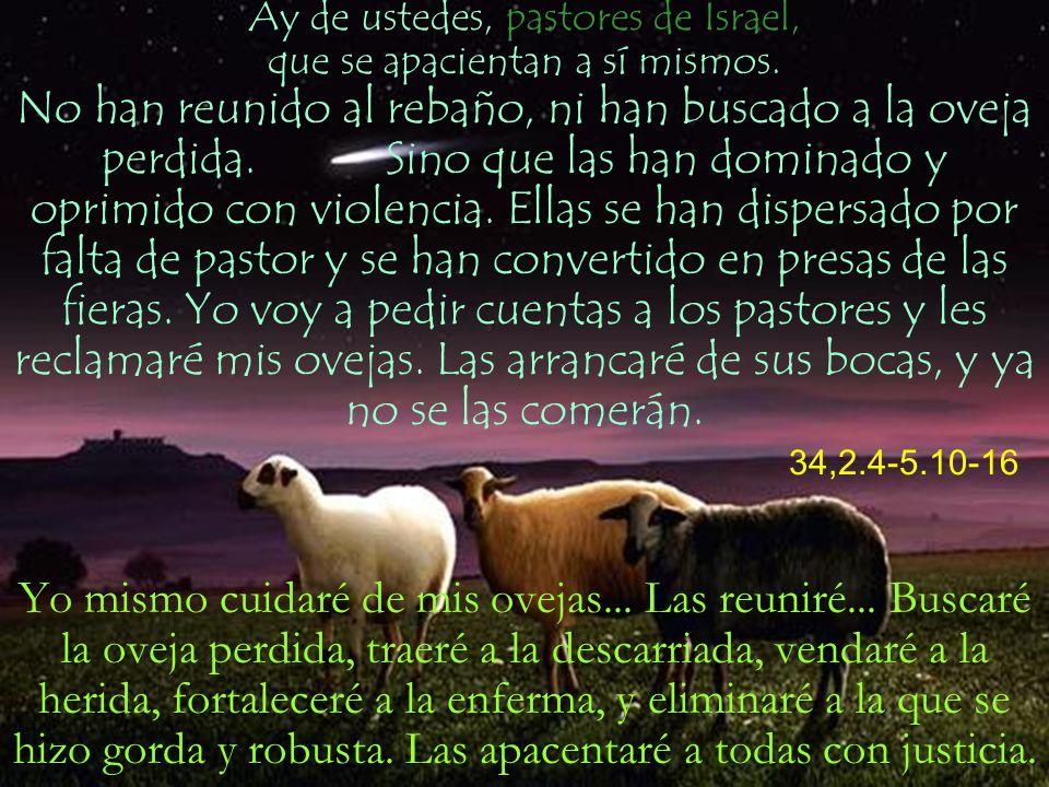 Ay de ustedes, pastores de Israel, que se apacientan a sí mismos. No han reunido al rebaño, ni han buscado a la oveja perdida. Sino que las han domina