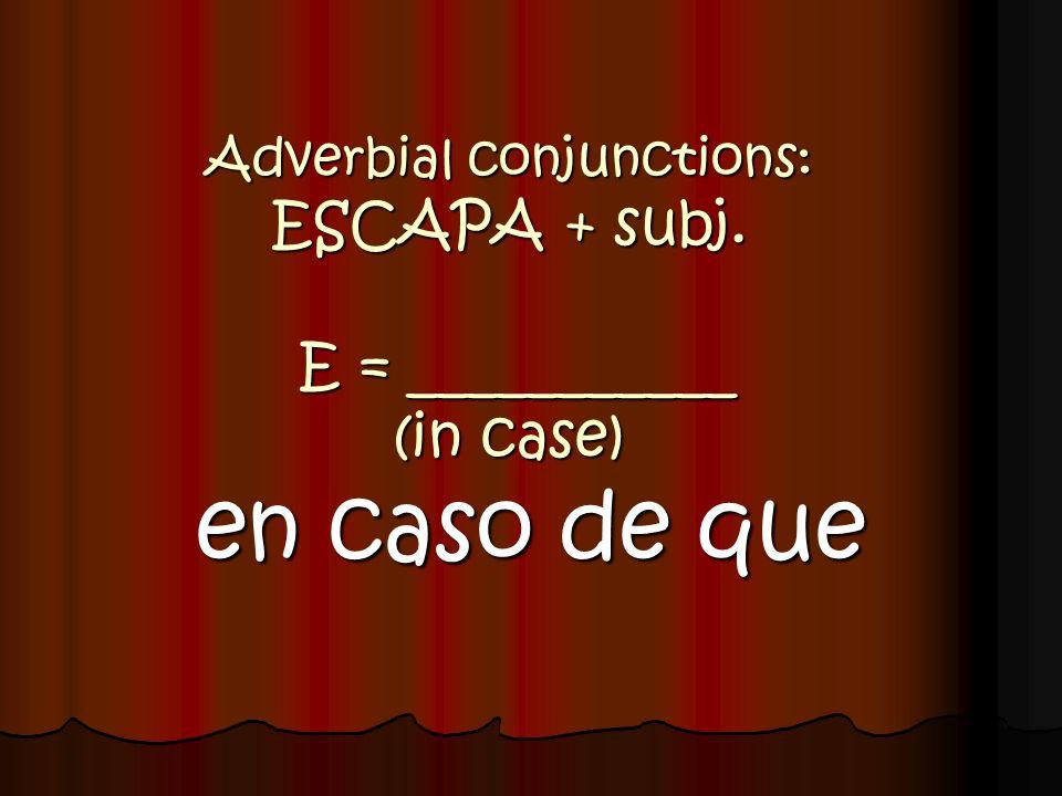 Adverbial conjunctions: ESCAPA + subj. E = ___________ (in case) en caso de que