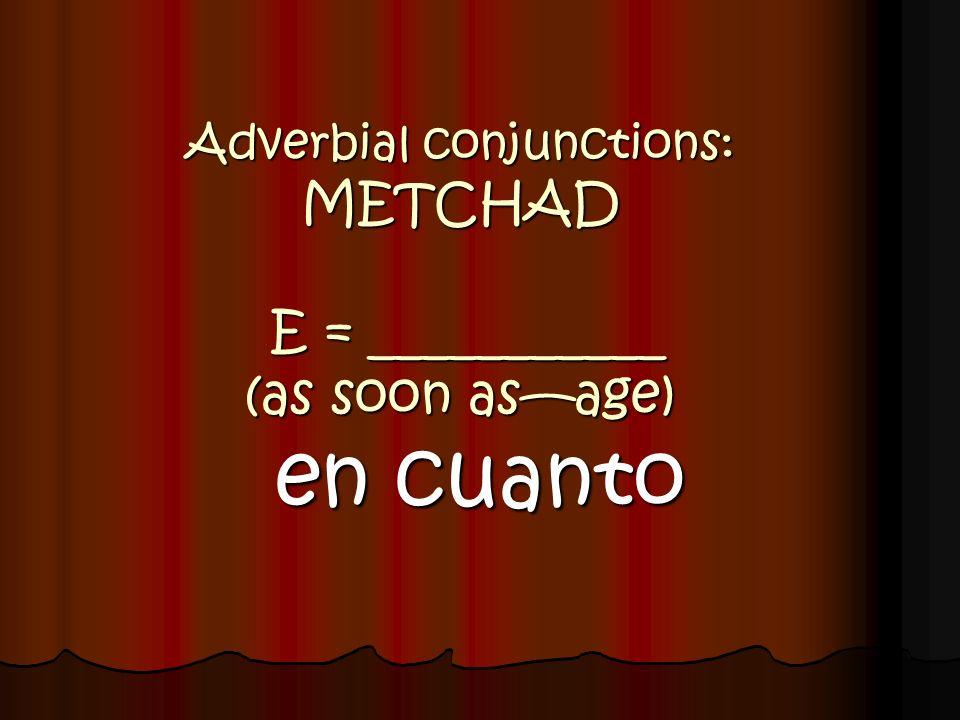Adverbial conjunctions: ESCAPA + subj. P = ___________ (so that) para que