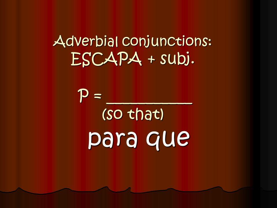 Adverbial conjunctions: ESCAPA En caso de que tú ___________ (ir) al cine... VAYAS
