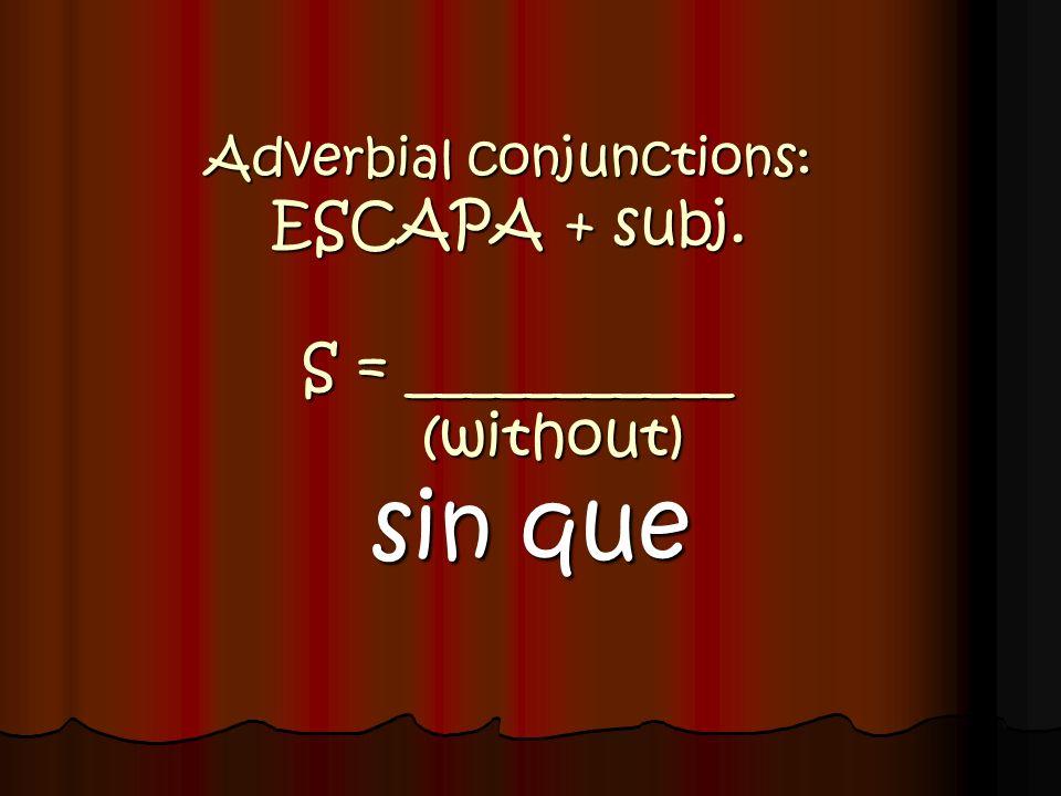 Adverbial conjunctions: ESCAPA + subj. A = ___________ (unless) a menos que