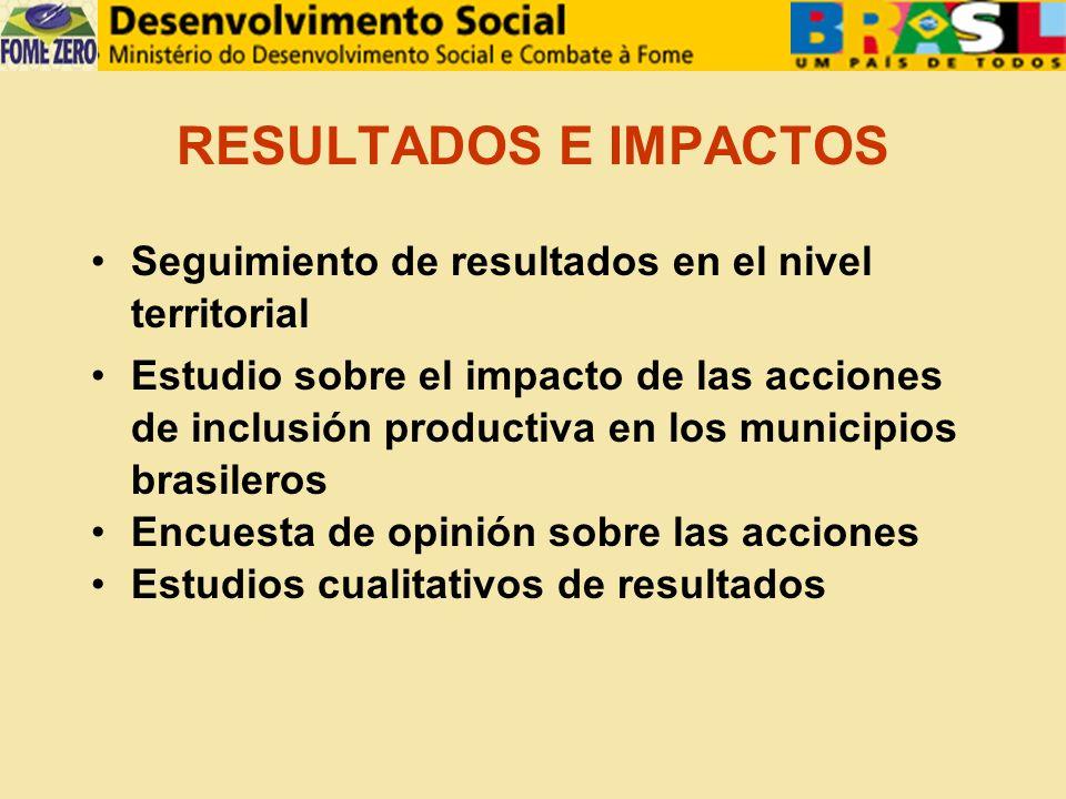 RESULTADOS E IMPACTOS Seguimiento de resultados en el nivel territorial Estudio sobre el impacto de las acciones de inclusión productiva en los municipios brasileros Encuesta de opinión sobre las acciones Estudios cualitativos de resultados