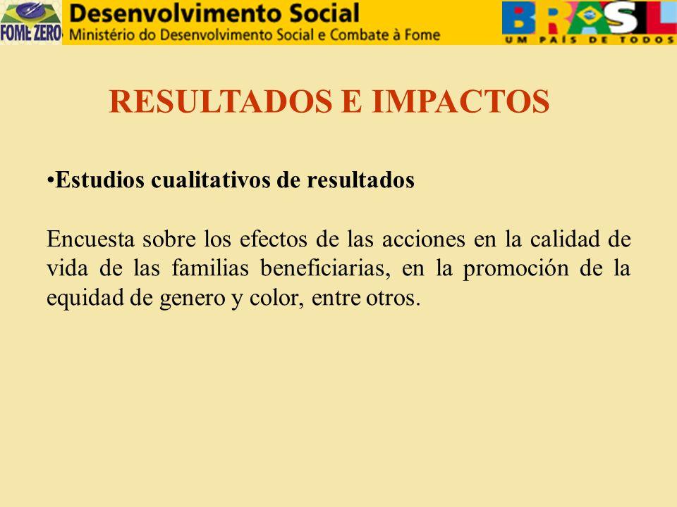 Estudios cualitativos de resultados Encuesta sobre los efectos de las acciones en la calidad de vida de las familias beneficiarias, en la promoción de la equidad de genero y color, entre otros.