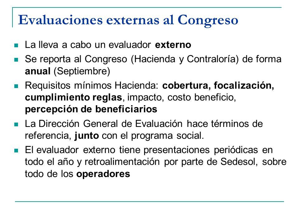 Evaluaciones externas al Congreso La lleva a cabo un evaluador externo Se reporta al Congreso (Hacienda y Contraloría) de forma anual (Septiembre) Req