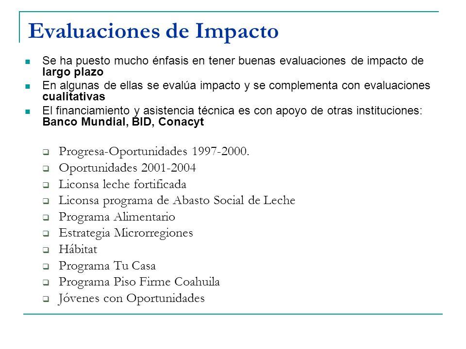 Evaluaciones de Impacto Se ha puesto mucho énfasis en tener buenas evaluaciones de impacto de largo plazo En algunas de ellas se evalúa impacto y se c