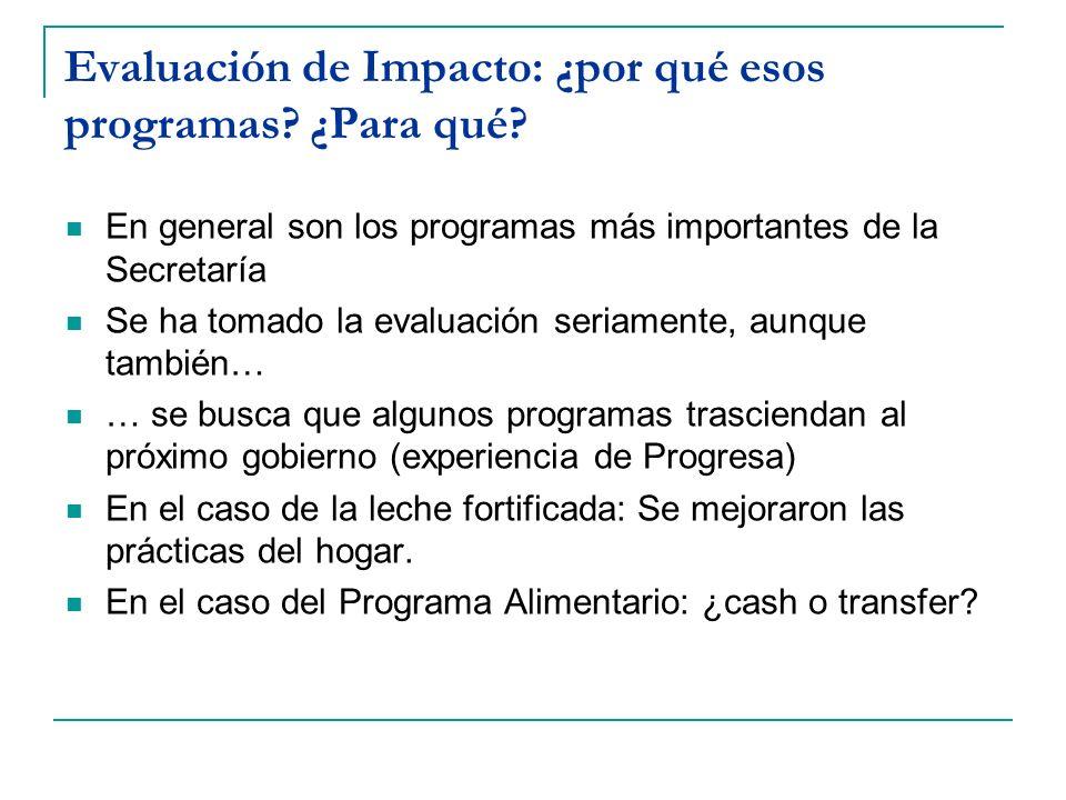 Evaluación de Impacto: ¿por qué esos programas? ¿Para qué? En general son los programas más importantes de la Secretaría Se ha tomado la evaluación se