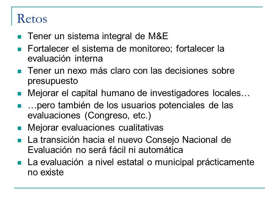 Retos Tener un sistema integral de M&E Fortalecer el sistema de monitoreo; fortalecer la evaluación interna Tener un nexo más claro con las decisiones