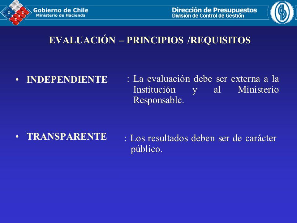 EVALUACIÓN – PRINCIPIOS /REQUISITOS INDEPENDIENTE TRANSPARENTE : La evaluación debe ser externa a la Institución y al Ministerio Responsable.
