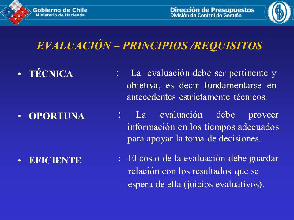 EVALUACIÓN – PRINCIPIOS /REQUISITOS TÉCNICA OPORTUNA EFICIENTE : La evaluación debe ser pertinente y objetiva, es decir fundamentarse en antecedentes estríctamente técnicos.
