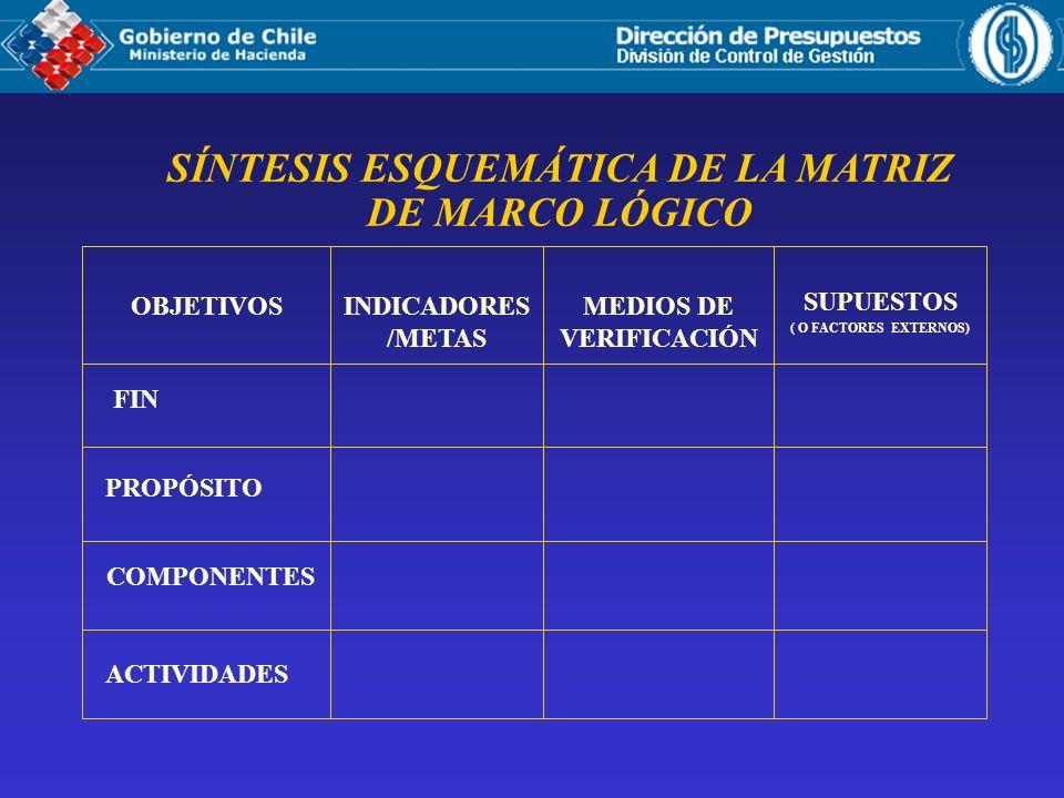 SÍNTESIS ESQUEMÁTICA DE LA MATRIZ DE MARCO LÓGICO OBJETIVOS PROPÓSITO COMPONENTES ACTIVIDADES FIN INDICADORES /METAS MEDIOS DE VERIFICACIÓN SUPUESTOS