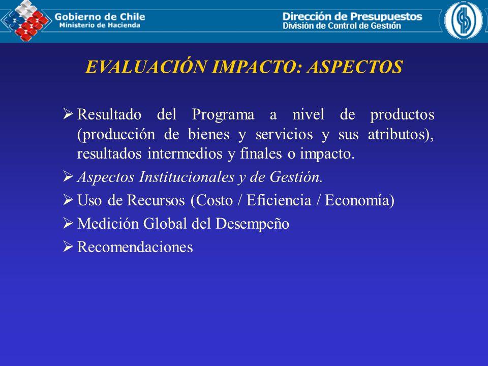EVALUACIÓN IMPACTO: ASPECTOS Resultado del Programa a nivel de productos (producción de bienes y servicios y sus atributos), resultados intermedios y finales o impacto.