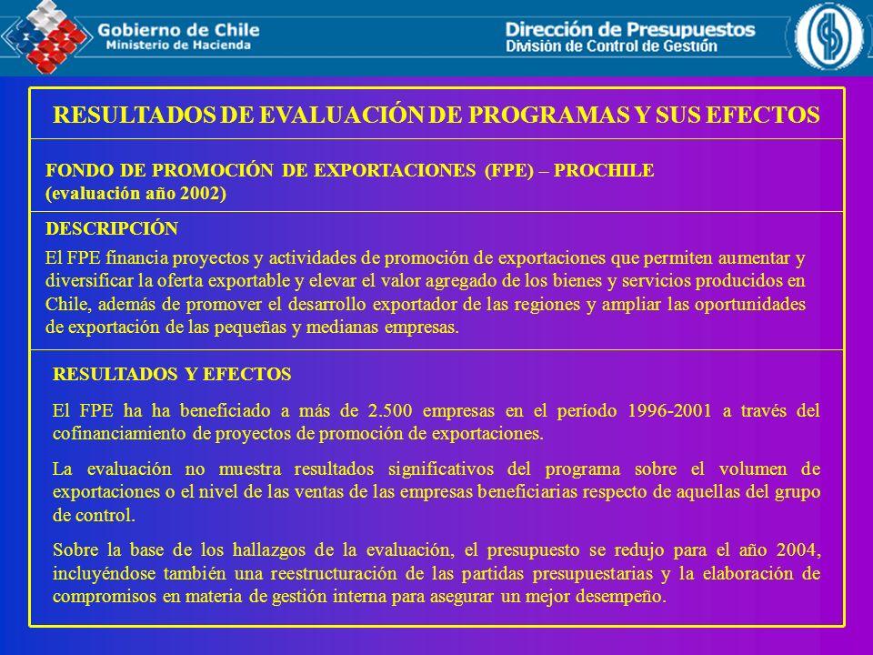 RESULTADOS DE EVALUACIÓN DE PROGRAMAS Y SUS EFECTOS FONDO DE PROMOCIÓN DE EXPORTACIONES (FPE) – PROCHILE (evaluación año 2002) RESULTADOS Y EFECTOS El
