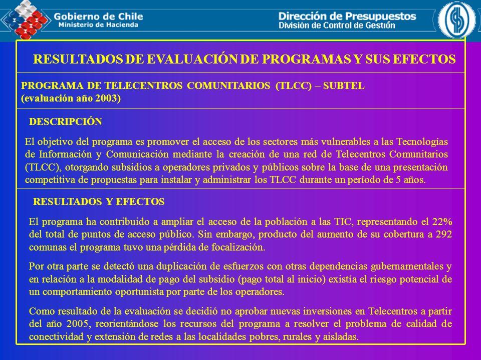 RESULTADOS DE EVALUACIÓN DE PROGRAMAS Y SUS EFECTOS PROGRAMA DE TELECENTROS COMUNITARIOS (TLCC) – SUBTEL (evaluación año 2003) RESULTADOS Y EFECTOS El