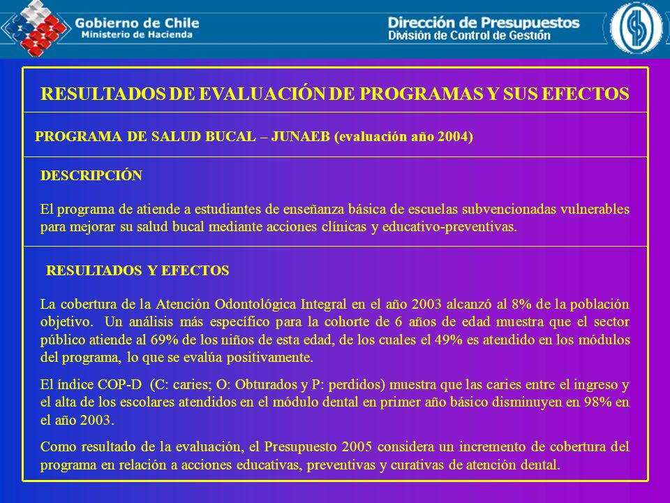 RESULTADOS DE EVALUACIÓN DE PROGRAMAS Y SUS EFECTOS PROGRAMA DE SALUD BUCAL – JUNAEB (evaluación año 2004) RESULTADOS Y EFECTOS El programa de atiende