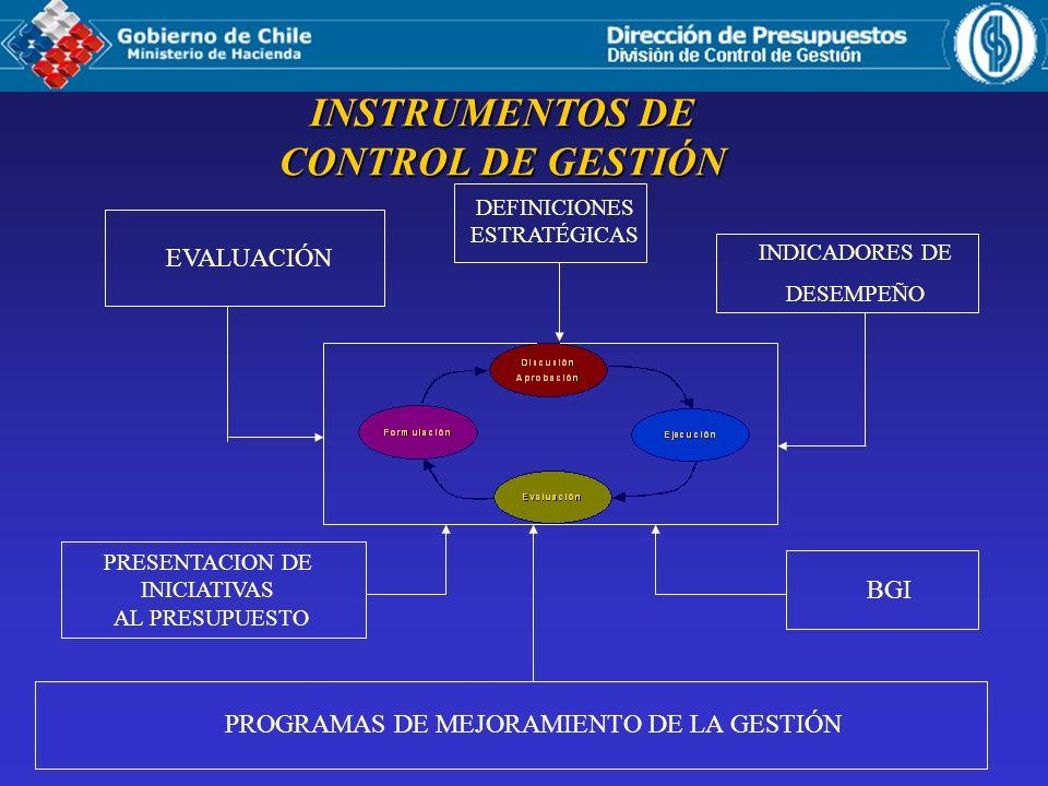 INSTRUMENTOS DE CONTROL DE GESTIÓN EVALUACIÓN INDICADORES DE DESEMPEÑO PRESENTACION DE INICIATIVAS AL PRESUPUESTO BGI PROGRAMAS DE MEJORAMIENTO DE LA GESTIÓN DEFINICIONES ESTRATÉGICAS