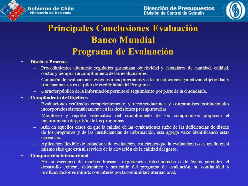 Principales Conclusiones Evaluación Banco Mundial Programa de Evaluación Diseño y Procesos –Procedimientos altamente regulados garantizan objetividad