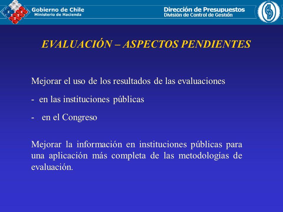 EVALUACIÓN – ASPECTOS PENDIENTES Mejorar el uso de los resultados de las evaluaciones - en las instituciones públicas -en el Congreso Mejorar la información en instituciones públicas para una aplicación más completa de las metodologías de evaluación.