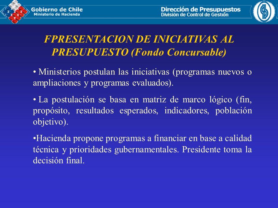 FPRESENTACION DE INICIATIVAS AL PRESUPUESTO (Fondo Concursable) Ministerios postulan las iniciativas (programas nuevos o ampliaciones y programas evaluados).