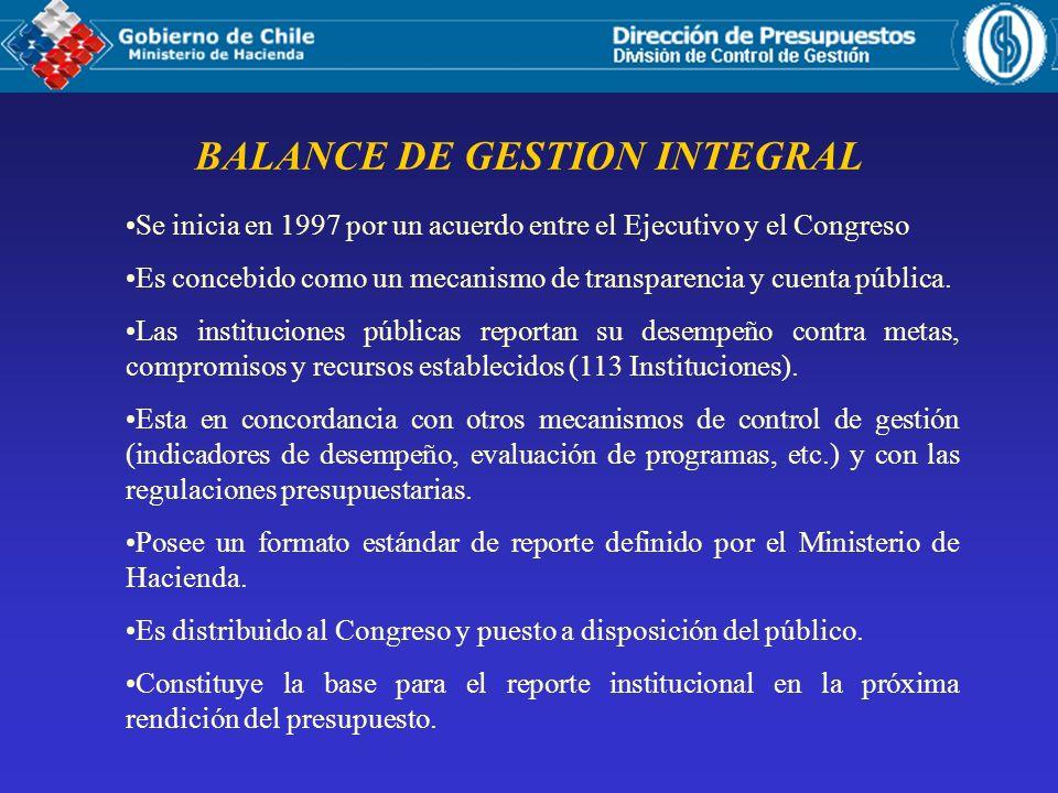 BALANCE DE GESTION INTEGRAL Se inicia en 1997 por un acuerdo entre el Ejecutivo y el Congreso Es concebido como un mecanismo de transparencia y cuenta pública.