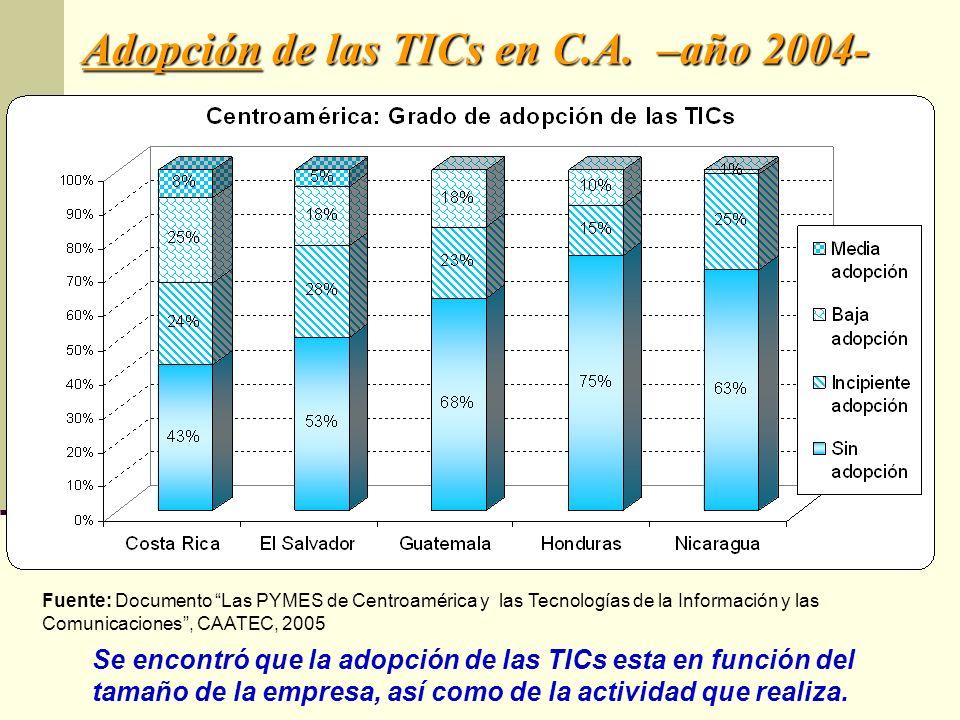 Adopción de las TICs en C.A. –año 2004- Se encontró que la adopción de las TICs esta en función del tamaño de la empresa, así como de la actividad que