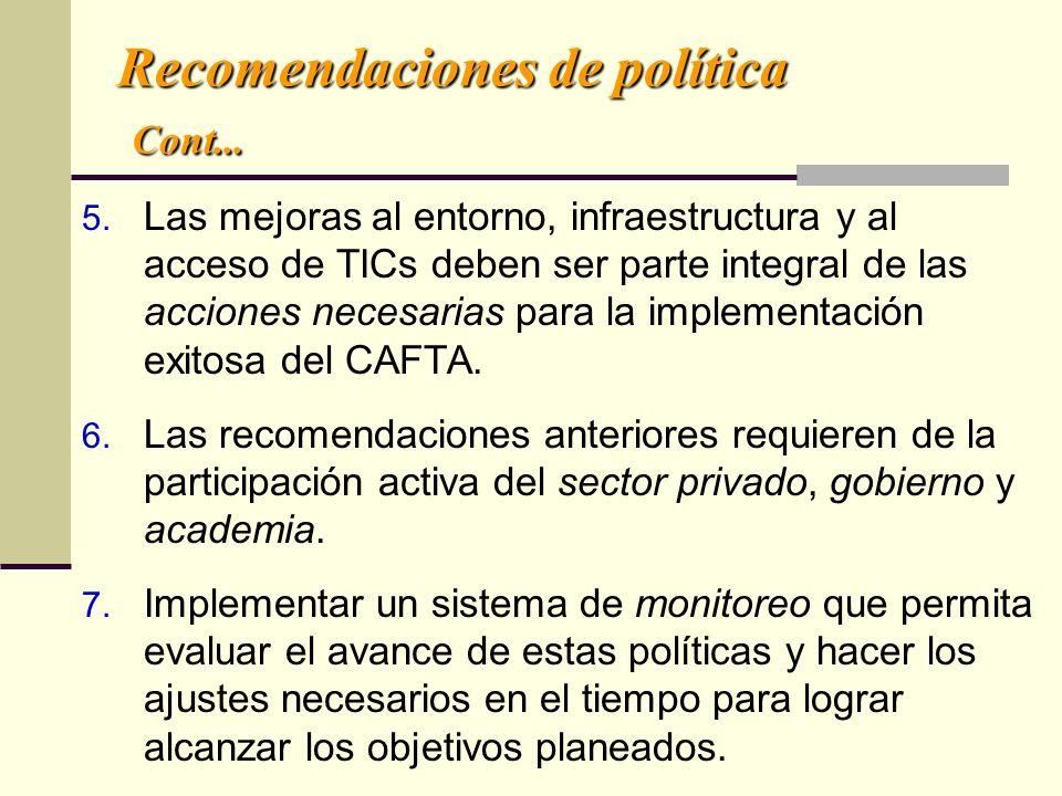 Recomendaciones de política Cont... 5. Las mejoras al entorno, infraestructura y al acceso de TICs deben ser parte integral de las acciones necesarias