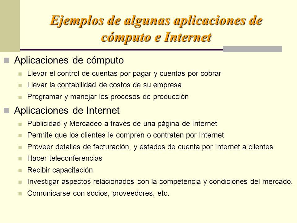 Ejemplos de algunas aplicaciones de cómputo e Internet Aplicaciones de cómputo Llevar el control de cuentas por pagar y cuentas por cobrar Llevar la c