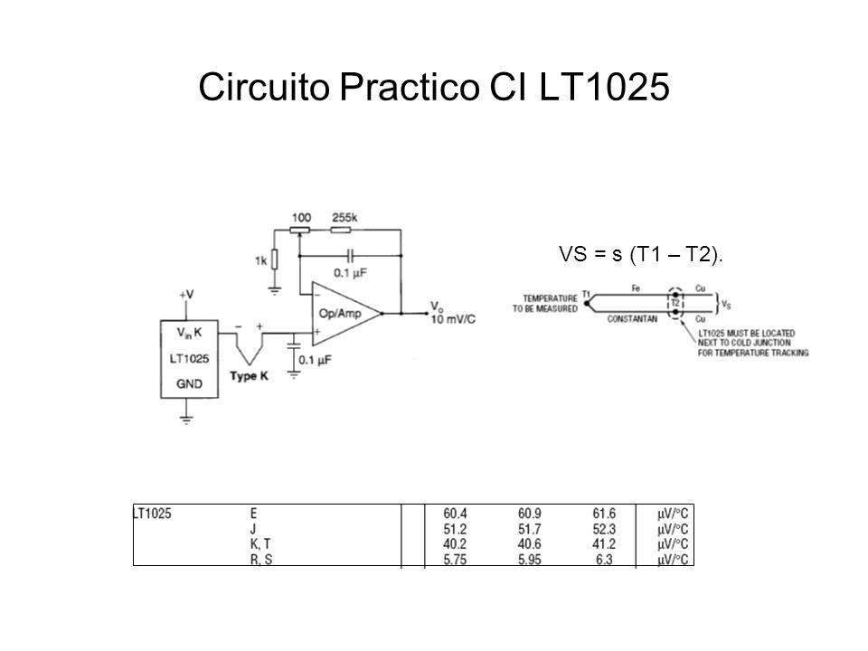Circuito Practico CI LT1025 VS = s (T1 – T2).
