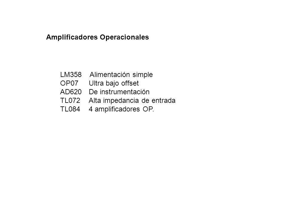 Amplificadores Operacionales LM358 Alimentación simple OP07Ultra bajo offset AD620De instrumentación TL072Alta impedancia de entrada TL0844 amplificad