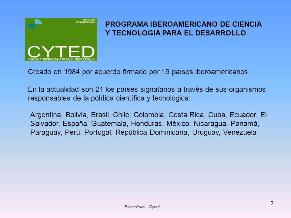 Elecsolrural - Cyted 3 Objetivo.- Contribuir al desarrollo armónico de la Región Iberoamericana mediante el establecimiento de mecanismos de cooperación entre grupos de investigación de las Universidades, Centros de I+D y Empresas innovadoras de los países iberoamericanos, que pretenden la consecución de resultados científicos y tecnológicos transferibles a los sistemas productivos y a las políticas sociales