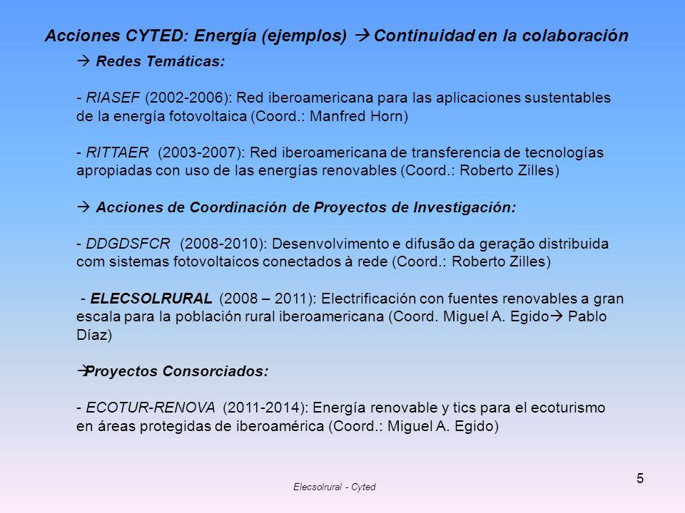 Elecsolrural - Cyted 6 Acción 708AC0357 Electrificación con fuentes renovables a gran escala para la población rural iberoamericana (ELECSOLRURAL) Duración: 2008 - 2011 Argentina - EMPRESA JUJEÑA DE SISTEMAS ENERGETICOS DISPERSOS SOCIEDAD ANONIMA.
