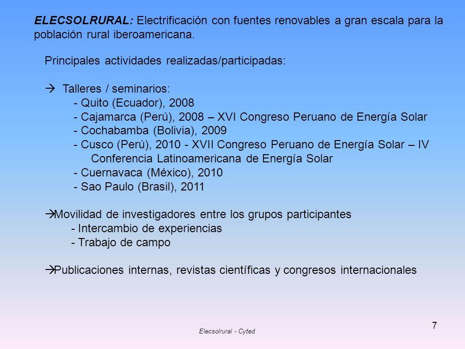 Elecsolrural - Cyted 7 ELECSOLRURAL: Electrificación con fuentes renovables a gran escala para la población rural iberoamericana. Principales activida